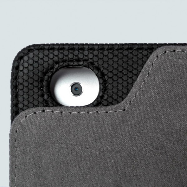 When folded against the back, the front cover will not obstruct the iPad's camera lens. Because of the unique contour of the front cover, you can take pictures or videos with your iPad while it's completely folded against the back.