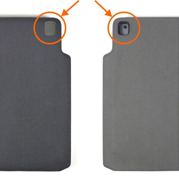 WHEN THE FRONT COVER IS OPEN AND FOLDED TO THE BACKSIDE OF THE CASE, THE PROTECTIVE CLEAR WINDOW ON THE FRONT COVER CORNER WILL NOT OBSTRUCT THE iPAD'S REAR CAMERA.